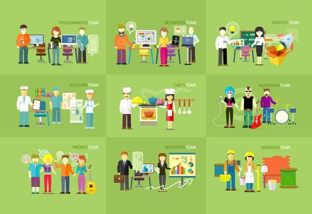 조직: 작업 팀 사람들이 작업 개념 평면 디자인.