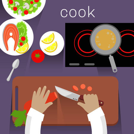 Work space cook design flat concept. Cooking and kitchen, food and cooker, cookies recipe, chef cooking, space table, ingredient and preparation illustration