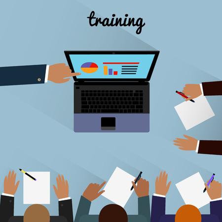 La formación de área de trabajo plana de diseño. Formación empresarial, curso de formación, el aprendizaje y el tren, la educación y la computadora, la oficina de negocios, tecnología y gestión, ilustración ordenador portátil