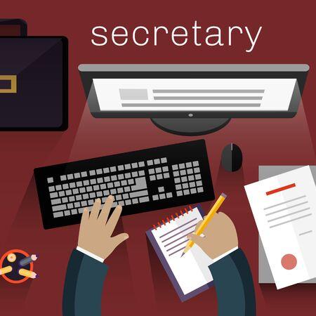 secretary office: Workspace secretary design flat. Assistance and office, receptionist, secretary desk, personal assistant, business work, computer desk, desktop job illustration