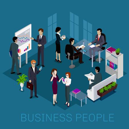 reunion de trabajo: Diseño de la gente de negocios isométrico. Reunión de negocios, hombre de negocios, grupo de personas de negocios, equipo de negocios, trabajo hombre de negocios, mujer trabajadora, ilustración oficina Vectores