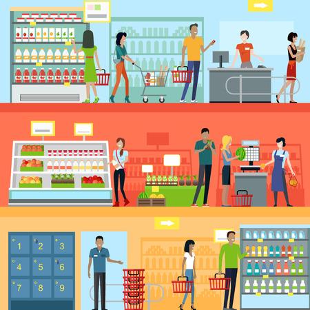 Lidé v supermarketu interiérového designu. Lidé nakupování, supermarket nakupování, lidé z marketingu, tržní prodejna interiér, zákazník v nákupním středisku, maloobchod ilustrační