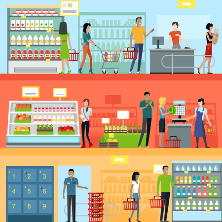 Mensen in de supermarkt interieur. Mensen winkelen, supermarkt winkelen, marketing mensen, markt winkel interieur, de klant in winkelcentrum, winkel illustratie
