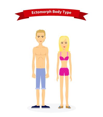 slip homme: Ectomorph femme type de corps et de l'homme. Les gens de la santé, mince et maigre mince, physique adulte chiffre en bonne santé, personne humaine, maigre et mince, la structure illustration normale