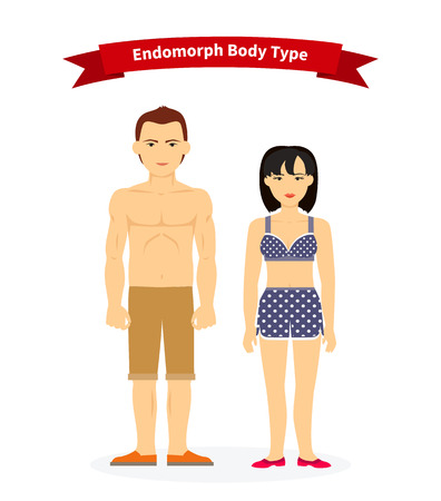 cartoon underwear: Endomorph body type woman and man. Male fat, physique adult young, overweight and obese, healthy figure, weight and underwear, person human girl female illustration