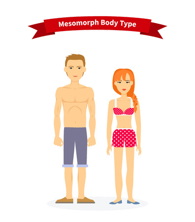 Mesomorph body type woman and man. People health, athletic male, fitness physique, muscular figure, healthcare person human, guy man bodybuilding illustration