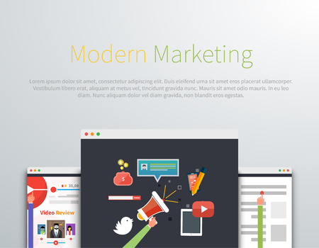 business development: Modern marketing web page design. Marketing strategy, advertising and marketing icon, shopping and sale, website internet, idea promotion, blog poster illustration