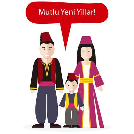 personas saludandose: Turcos personas felicitaciones Feliz Año Nuevo. Cultura tradición felicitación, el deseo de la familia, celebración la gente, ilustración saludo retrato nacional
