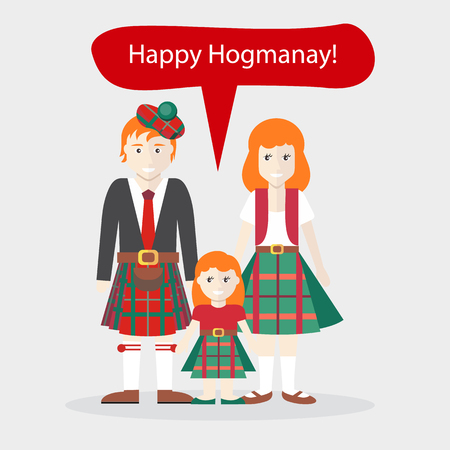 scots: Scots people congratulations Happy New Year. Holiday and native language and clothes, speech bubble family wish, celebration national ethnic illustration Illustration
