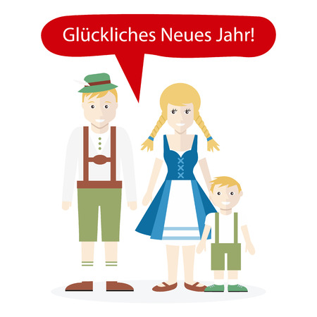 happy people: Germans people congratulations happy New Year. Family man woman child wish happy, national portrait, greeting and country, person ethnic, traditional clothes and language illustration Illustration