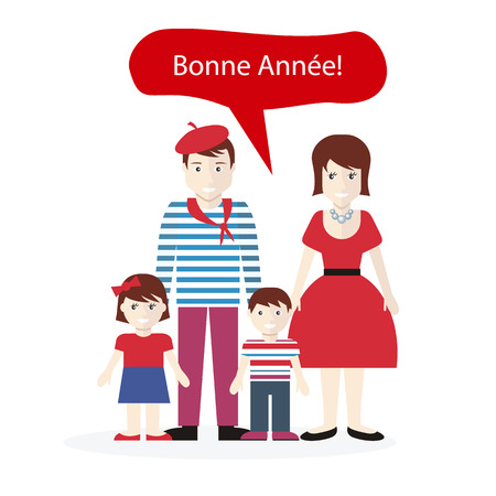 personas saludandose: Personas francesas felicitaciones feliz año nuevo. Familia con el deseo del niño, saludo país nacional, étnica persona, ropa de caracteres tradicionales ilustración Vectores