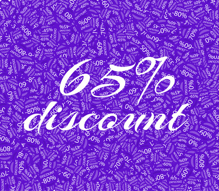 65: Sale labels background, end-of-season sale, discount tags percent text. Best discounts background with percent discount pattern. Sale background. Sale banner. Percent with numbers 65