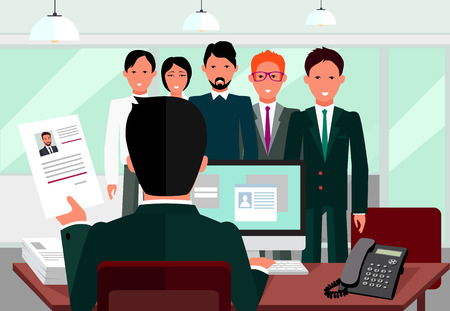 interview: Hiring recruiting interview. Look resume applicant employer. Hands Hold CV profile choose from group of business people.  Illustration
