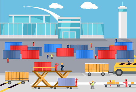 freighter: Loading freight containers cargo plane. Transportation delivery, logistic shipping, service industry, load airplane, airport terminal, import express and distribution freighter. Loader near container Illustration