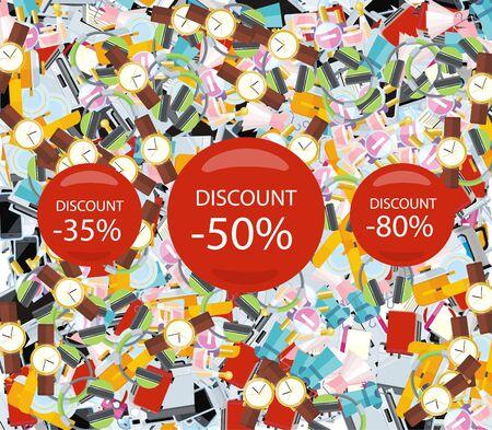 consumerism: Pattern consumerism sale sticker and item.  Illustration
