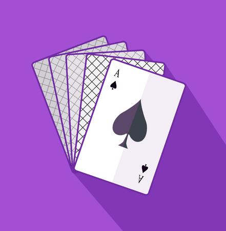 ace: Ace card flat design on background.  Illustration