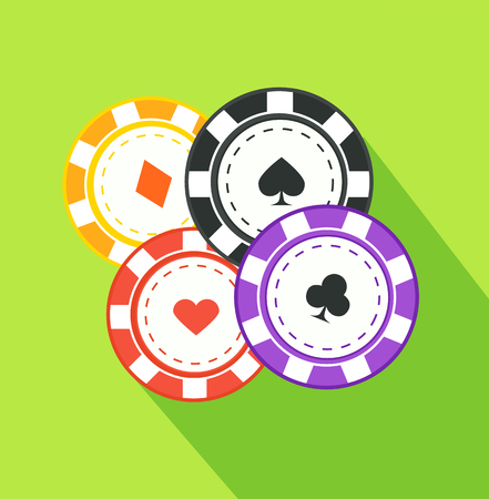 success risk: Chip suit flat design on background. Tambourine peaks hearts and clubs, gambling play game, chance in casino, success risk and luck, leisure and bet illustration