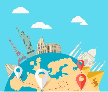 wereldbol: Wereld avontuurlijke reizen. Stock Illustratie