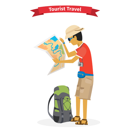 Tourist travel. Concept of the world adventure travel.  Illustration