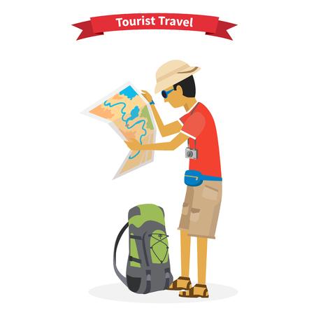 Toerist. Concept van de wereld avontuurlijke reizen. Stock Illustratie