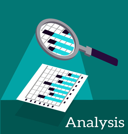 analyze: Analysis infographic and data. Analytics and analysis icon, analyze and business analysis, research data analysis, graph information, chart statistic, plan and report illustration Illustration