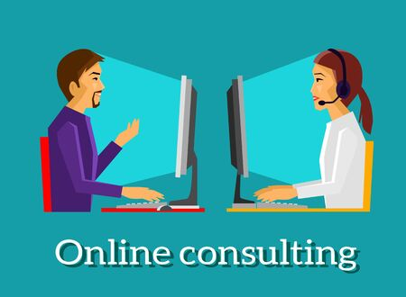 consulting services: Online consulting design flat concept. Business consulting, consulting services, consulting icon, technology communication, internet and management illustration. Consulting manager. Consulting online
