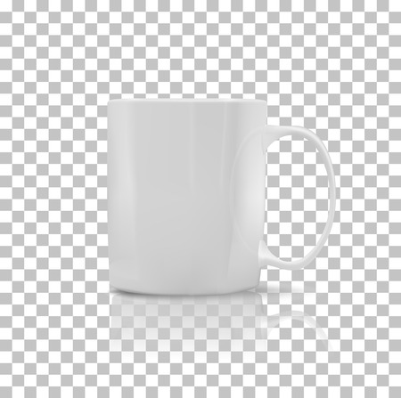 refreshment: Cup or mug white color. Object coffee or tea, ceramic utensil, beverage breakfast, refreshment caffeine, handle container, realistic glossy elegance cup. Cup icon. Transparent background