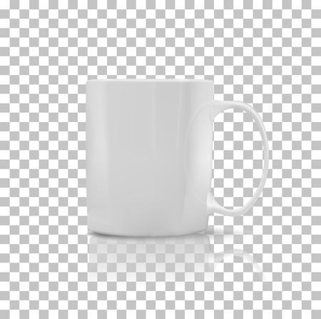 Tasse oder Becher weißer Farbe. Object Kaffee oder Tee, Keramikgeschirr, Getränke Frühstück, Erfrischung Koffein, Griff Behälter, realistisch glänzend Eleganz Tasse. Cup-Symbol. Transparenter Hintergrund