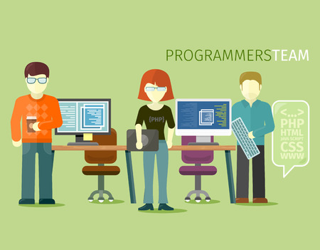 css: Programmers team people group flat style. Programming and computer programmer, development and code, computer and programming code, internet web, coding technology illustration