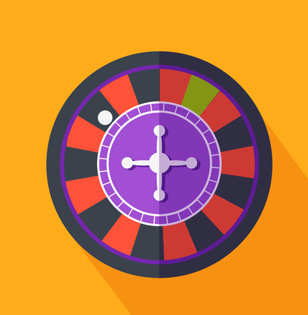 gamble: Roulette flat design on background. Casino and roulette wheel, gambling luck, fortune and bet, risk and leisure, jackpot chance, gamble round illustration
