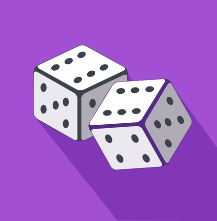 wager: Dice flat design on background. Casino gambling, dice vector, gamble game, success play, luck bet, chance win, fortune gaming, throw random illustration