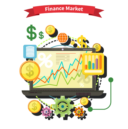 rates: Financial diagram on a laptop monitor. News from finance market. Business stock exchange. Financial planning, accounting, corporate financial strategy. Price movement. Stock exchange rates flat design