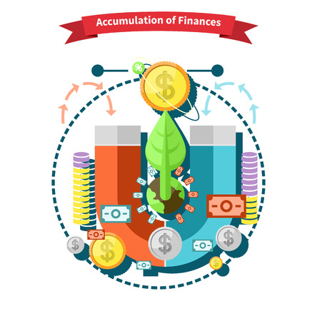 accumulation: Accumulation of finances concept of a magnet attracting golden coins in flat design. Capital money,  capital markets, finance investment, growth business, financial profit, dollar coin, fund invest