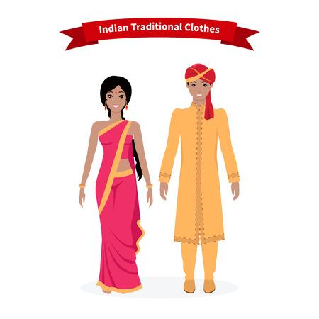 etnia: Ropas tradicionales indias personas. Sari indio, vestido de indio, y la tela sari indio, mujer sonriente y vestido asiático, la gente etnia, cultura ilustración étnica