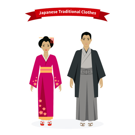 geisha kimono: Japanese traditional clothes people. Asian girl, person tradition culture, kimono and woman, costume lady, geisha elegance, clothing oriental exotic illustration