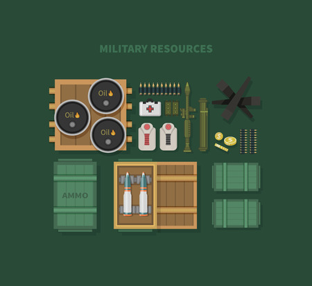 launcher: Military resources flat design . War and ammunition, army and bullet, ammo weapon, inventory gun, oil barrel, rocket and bazooka, automatic and launcher illustration Illustration