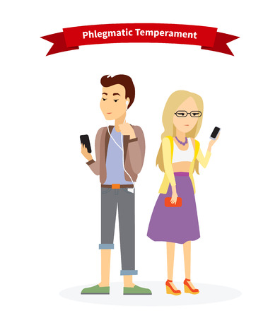 introverted: Phlegmatic temperament type people. Serious man and woman, medical and emotion, individuality and calm, individual mental, focused emotional illustration