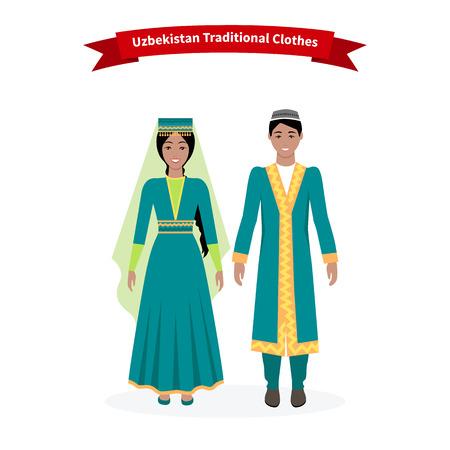우즈베키스탄의 전통 옷을 입고 사람들. 아름다운 의류 모자, 민속 전통, 우즈베크어 장식, 소녀 민족, 여성 드레스, 사람이 동쪽과 문화 아시아 그림 일러스트