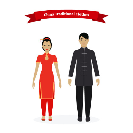 china people: China traditional clothes people. Chinese asian culture, dress clothing person woman, tradition fashion, oriental east, eastern asia, female cloth illustration
