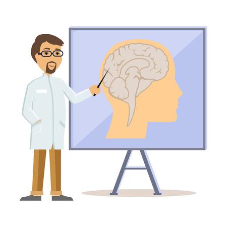neurologist: Doctor showing human brain flat design. Human head, human anatomy, medicine care, medical health human, hospital and professional specialist illustration