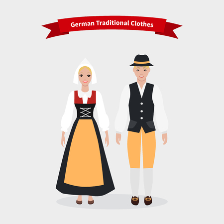 german culture: German traditional clothes people. Cloth costume culture, ethnic girl, dress national  and person woman,  native cultural,  human clothing, nationality man illustration