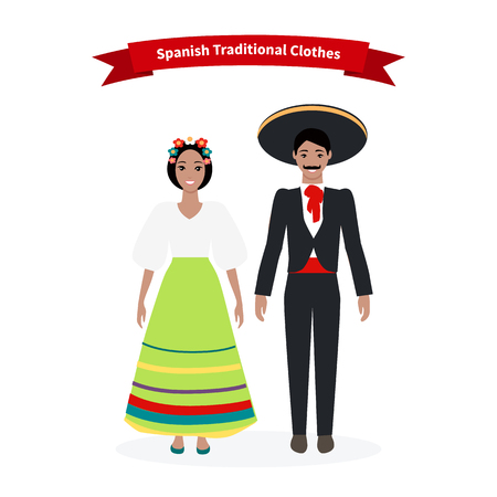 european culture: Spanish traditional clothes people. Culture and clothing, spain costume, female person, dress for girl, man and woman, happy face european illustration