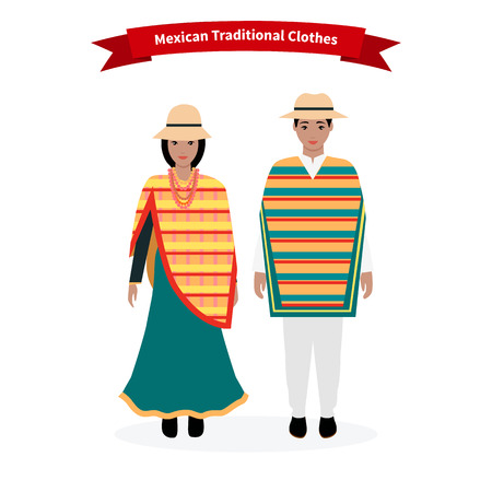 traditional costume: Mexican traditional clothes people. Man with hat, ethnic culture, costume for woman, dress native national, person lady character, tradition nationality clothing with pattern illustration Illustration