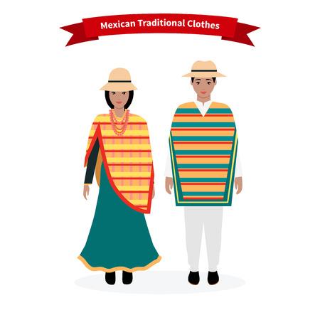 traje mexicano: Ropa tradicional mexicana personas. Hombre con sombrero, la cultura étnica, traje para la mujer, vestido nacional, persona de carácter dama nativa, la tradición ropa nacionalidad con el patrón de la ilustración