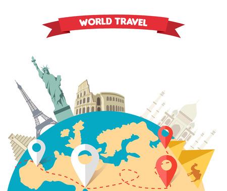 Weltabenteuerreisen. Entspannung Reise, Freizeit Rest Tourismus, Statue Freiheit, Eiffelturm, das Kolosseum, Reise globale Tour. Reisen Welt, Globus Weltkarte, auf der ganzen Welt, Globus Reisen, Welt tou