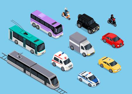 運輸: 等距3D運輸設置扁平化設計。汽車車輛,交通運輸,卡車麵包車,汽車貨運,公交,汽車,警察和摩托車插圖