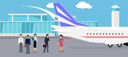 departure: Boarding the plane flat design. Travel and vacation, airline and trip, passenger and tourism, liner or airplane, airport transit, departure board illustration