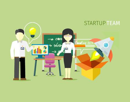 스타트 팀 사람들은 플랫 스타일을 그룹화합니다. 시동 사업, 기업가 정신 및 소기업, 회사 사무실 팀워크, 전문 노동자 삽화