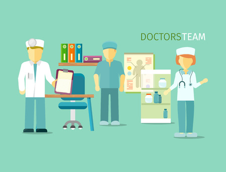 team group: Doctors team people group flat style. Group of doctors, medical team, doctors office, nurse person, medicine hospital, professional staff, physician profession illustration