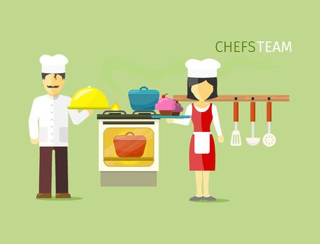 jefe de cocina: Chefs personas del equipo del grupo de estilo plano. sombrero de cocinero, cocinero, comida, restaurante y cocina, cocinero de la cocina, la ocupación y la ilustración de empleo profesión